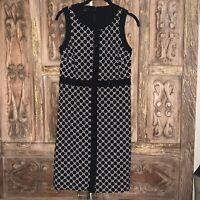 Talbots Women's Size 6 Petite Sheath Dress Black White Sleeveless Knit Career