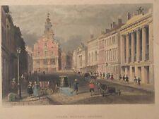 HISTORIC BOSTON~Old State House~State Street~Original Antique Aquatint Engraving
