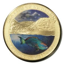 Sea Life of St. Helena Napoleon Fish 25 Pence 2013 Gold-plated Colored Crown
