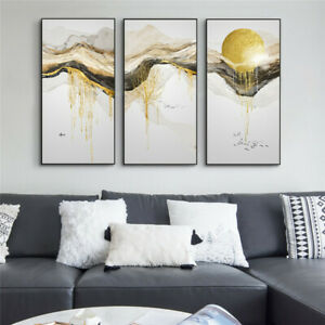Abstract Golden Mountain Sunrise Landscape Canvas Painting Wall Art Poster Print