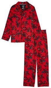 NWT Kids Marvel Spider man Pajamas Pants Shirt Spiderman Boy Girl 6 7 Button Up