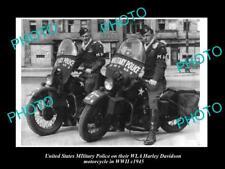 OLD HISTORIC PHOTO OF USA MILITARY POLICE HARLEY DAVIDSON WLA MOTORCYCLE c1945