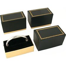 3 Bangle Bracelet Boxes Black & Gold Gift Display Boxes