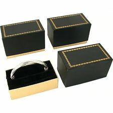 3 Bangle Bracelet Boxes Black & Gold Gift Display Boxes