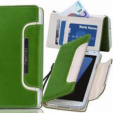 Handy Tasche Schutz hülle Wallet Case Etui Cover für Samsung Galaxy S7 Edge grün