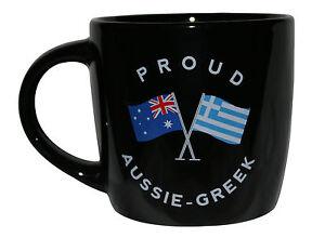 PROUD AUSSIE - GREEK TEA COFFEE MUG AUSTRALIAN SOUVENIR GIFT GREECE BLACK