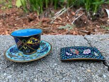 GROUP CHINESE ANTIQUE CLOISONNÉ CUP AND SAUCER  BELT BUCKLE WHITE FLEET FLAG