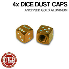 4x Gold Dice Car Bike Motorcycle BMX Wheel Tyre Valve Metal Dust Caps Dusties