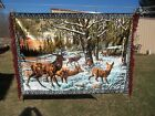 """Stag Elk Caribou Vintage Wall Hanging Tapestry Made in Italy 48 X 65"""""""