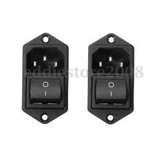 2X 3Pin IEC320 C14 Inlet Male Power Socket Module Plug W/ Rocker Switch 10A 250V