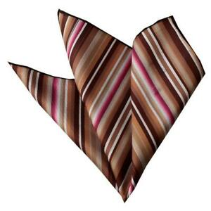 Celino Beige Cream Stripes Pocket Square for Men Silk Handkerchief for Suit