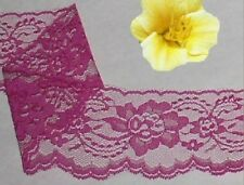 "Fuchsia Lace Trim Scalloped 8 Yards x 3"" Large Floral O63V Added Trims ShipFree"