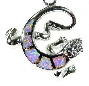 """Silver 925 SF Pendant Lovely Lilac Lab Fire Opal GECKO LIZARD 1"""" Long"""