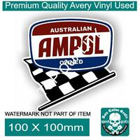 VINTAGE AMPOL CHECKER FLAG Decal Sticker Vintage PETROL OIL Hot Rod Stickers