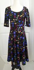 LuLaRoe Dress Flowers Floral Black Tropical Neon Bright Size XL Short Sleeve