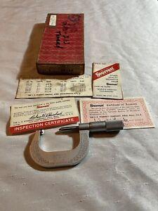 "Starrett No. 585 AP 4 1/2-6 Screw Thread 1-2"" Micrometer Made in USA W/box Paper"