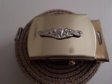 US MILITARY KHAKI WEB BELT WITH NAVY SILVER ENLISTED SUBMARINE BRASS BUCKLE U.S.