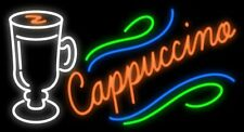"New Cappuccino Cafe Open Beer Light Lamp Neon Sign 32"" Poster Decor Artwork"