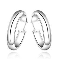 "Women's 18K White Gold Plated 1 1/2"" Thick Hoop Earrings"