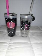2 Tervis Tumblers 16 oz. Initial E Lid & Straw Black & White Dots with Pink E
