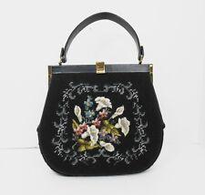 Vtg 1950's Eric Handbags New York Calla's Needle Point & Leather Handbag Purse