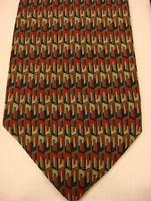 GEOFFREY BEENE Men's Silk Neck Tie - Red/Green Multi-Color Geometric Pattern