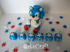 Sonic The Hedgehog Name blocks Handmade edible birthday cake decorations topper