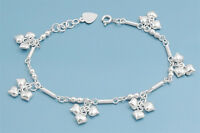"""Bracelet with 3 Hearts Charm Sterling Silver 925 Jewelry Gift 7"""" adjust to 8"""""""