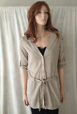 ESPRIT Beige Neutral Rolled Sleeve Cardigan One Size BUY Any 5 Items = Free Post