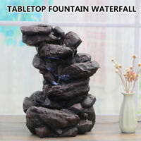 Indoor Water Fountain Tabletop Waterfall LED Light Zen Decor Table Small Rock