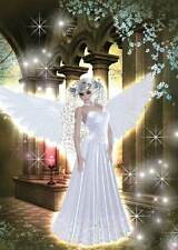 Castle Angel Birthday Card for women and girls sparkly white dress + blossom