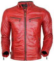 Herren Bikerjacke in rot aus echtem Leder gesteppte Schultern Vintage style