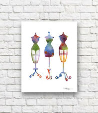 Vintage Fashion Mannequins Abstract Watercolor Painting Art Print by Artist DJR