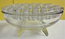 "Vintage Viking Glass Clear ""Flowerlite"" Oval Flower Frog Bowl, Mid Century"