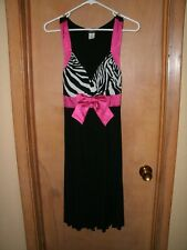 Taboo 1X Black & Pink with Zebra Print cocktail Party Dress Prom NWT