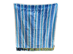 """Tommy Hilfiger Beach Blanket Oversize Throw Teal White Tassels Picnic 58X50"""""""
