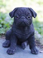 Sitting BLACK PUG Puppy Dog - Life Like Figurine Statue Home / Garden NEW
