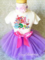 Little Mermaid Ariel  Baby Girl 1st First Birthday Tutu Outfit Shirt Set