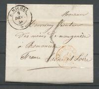 1858 Lettre Cachet SARDE ST-Michel * + Entrée en France Sardaigne rouge TB X3697