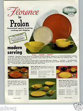 1955 PAPER AD Melmac Prolon Dinnerware Molded China Plates Florence