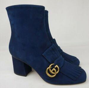 Gucci Marmont Kiltie Fringe Blue Suede GG Gold Block Heel Ankle Bootie Size 41