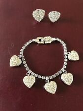 bracelet, silver tone and clear stone bracelet and clip-on earrings with hearts