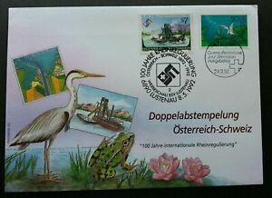 [SJ] Switzerland Austria Joint Issue Regulation Rhine Treaty 1992 Bird Joint FDC