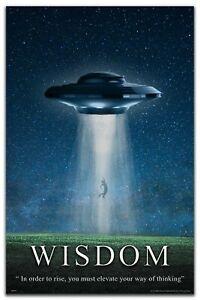 UFO Motivational Poster Art Print 11x17 NASA Believe Aliens Wall Decor Wisdom