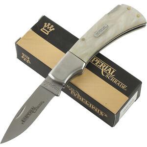 Imperial Schrade Cracked Ice Handles Lockback Pocket Knife IMP23 Folding Blade