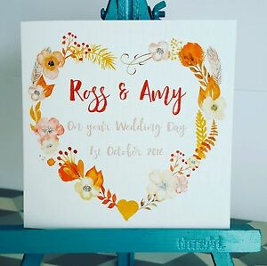 PERSONALISED Handmade Wedding Day Floral Autumnal Heart Wreath Watercolour Card