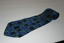 Geoffrey Beene 100% silk Tie , 60x4inch used blue green