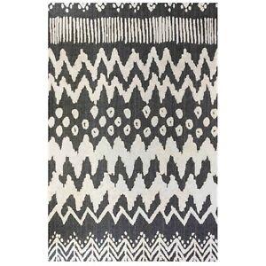 Black Large Tribal Rug | Zig-Zag Cotton Eco Living Room Rug | Non Shed Runner