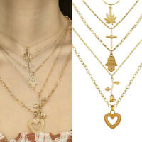 Necklace Rose Charm Chain Women Heart Jewelry Choker Clavicle Pendant Multilayer