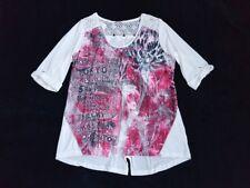 TREDY 3/4 Arm Longshirt Bluse Tunika Oberteil Gr.42 XL Strass Spitze NEU TOP NEW